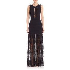 ELIE SAAB Fitted Ruffled Dress with Lace ($3,625) ❤ liked on Polyvore featuring dresses, apparel & accessories, black, flutter-sleeve dress, tight lace dress, fitted lace dress, sleeveless dress and lace cocktail dress