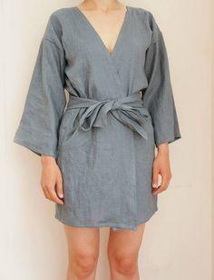 Womens linen robe, linen kimono robe, linen clothing, linen sleepwear, CollectionWN