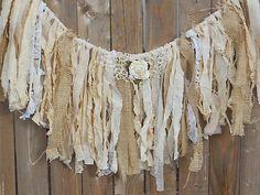 shabby burlap garland, fringe bunting, burlap and lace garland . Diy Tassel Garland, Burlap Garland, Fabric Garland, Fabric Bunting, Burlap Lace, Buntings, Fabric Banners, Wedding Props, Card Box Wedding