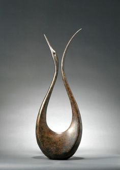 Bronze Birds Abstract Contemporary Stylised l Minimalist Sculpture / Statues #sculpture by #sculptor Simon Gudgeon titled: 'Lyrebird 1.8m' #art