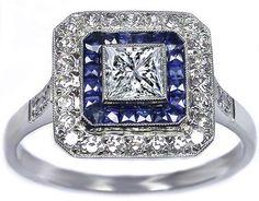 Princess cut Diamond Art Deco Blue & White Sqaure Halo  Engagement Ring