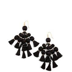 Women's Kate Spade New York Pretty Poms Tassel Earrings (5.650 RUB) ❤ liked on Polyvore featuring jewelry, earrings, black, kate spade jewelry, kate spade and kate spade earrings