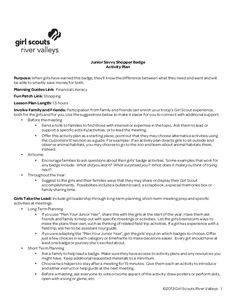 Girl Scout River Valleys - Junior Savvy Shopper Planning Guide - PDF Brownie Ideas, Girl Scout Juniors, Financial Literacy, Teaching Tools, Girl Scouts, Badges, Lesson Plans, Jr, River