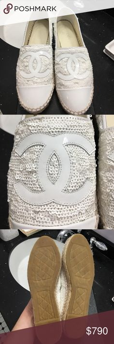 Chanel Espadrilles. White sequin with patent leather toe cap. Worn once for an hour. Selling because they are too small. Shoes run small. I am a 7 1/2 and my toes are up against the front of shoes. Some marks on the inside of the shoe, shown in pics. Comes with box and two dust bags. Sequins go in different directions. Cruise collection 16. CHANEL Shoes Espadrilles