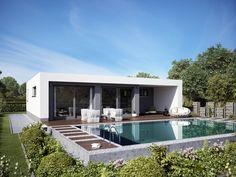 Bungalow TREND 5000 • Bungalow von Deutsche Bauwelten • Treppenfreies Massivhaus mit Ankleidezimmer, überdachter Terrasse und Flachdach • Jetzt bei Musterhaus.net Haus-Kataloge kostenlos anfordern!