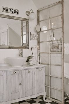 Old doors and windows for room dividing; especially nice in bathroom, dressing room, sitting room home decor areas. Upcycle, recycle, repurpose, salvage, diy! For ideas and goods shop at Estate ReSale ReDesign, Bonita Springs, FL