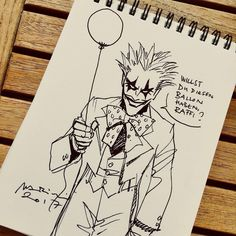 JOKER sketch for the son of a good friend. From BATMAN The Dark Prince Charming @dccomics @dargaud #joker #thedarkprincecharming #marini #charming #batman #ballon #balloon #sketchpad #quicksketch #drawingoftheday #drawing #dessin #illustration #disegno #zeichnung #clown #bd #bandedessinée #croquis #comicart #comics #fumetti #esquisse #schizzo #pagliaccio