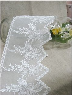 embroidered mesh lace 1yard width 115cm 117631 by cottonholic, $6.99