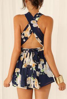 Black Criss Cross Floral Slim Jumpsuit