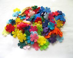 Felt Mini  Flowers Shapes   MIX Set of 200 by LadybugOnChamomile, $6.99