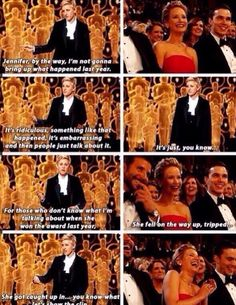 Ellen bullying Jennifer Lawrence. I'd also like to point out that Jen has a great seat there...