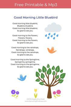Good Morning Little Bluebird - Spring Song for Kids Printable