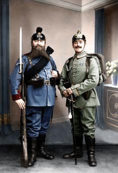Bavarian grandfather and Prussian grandson displaying the old and new uniforms of the German army, 1st of February, 1913