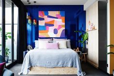 Etsy at the Cullen - Bright Blue bedroom wall