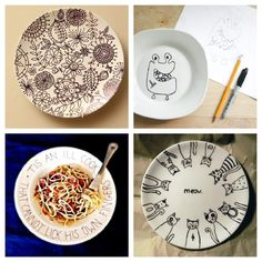 Draw, doodle, or write on a plate, then bake it at 150 degrees for 30 minutes to make it permanent! Clockwise from the upper left corner: Floral Pattern, Monsters, Cats, and Cooking Quote.