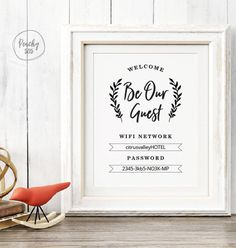 Printable WIFI password to sign in guest room WIFI sign .- Printable WIFI Password Sign Guest Room WIFI Sign Printable WIFI Password Welcome Print Guest Room Wall Decoration Source by abramowskic - Guest Room Baskets, Guest Room Decor, Guest Room Office, Room Wall Decor, Bedroom Wall, Guest Room Sign, Bedroom Decor, Guest Bedrooms, Girls Bedroom