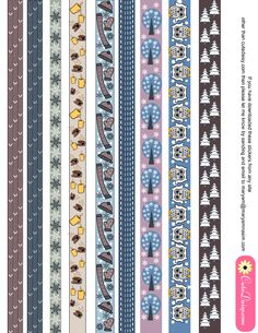 Winter washi tapes printable