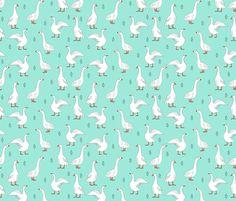geese // hand drawn farm animal bird print gender neutral kids fabric by andrea_lauren on Spoonflower - custom fabric