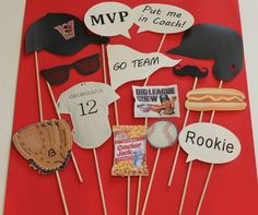 Baseball Photo Props - Baseball Party Theme Props on a Stick, Boys Birthday, Baseball Wedding, Baby Shower, Little League, Tailgating Picnic on Etsy, $25.00