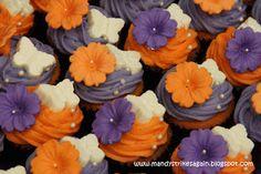 purple and orange cupcakes
