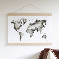 Wall Art - Nursery Decor - World Map - Map