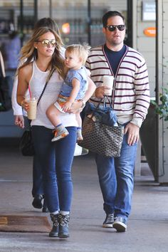 Hilary Duff and Luca enjoy an early Father's Day lunch