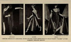aleksandra ekster, costume designs for Cubist production of Salome, 1922