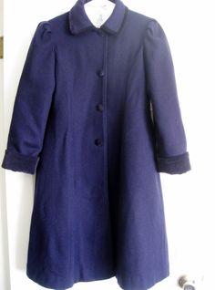Gorgeous Vintage Navy Blue Long Wool Girls Velvet by Versierings, $70.00