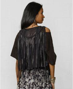 Denim & Supply Ralph Lauren Fringed Leather Vest in Black (Polo Black) - Lyst