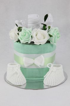 Baby Clothes Flower Bouquet Nappy Cake - Mint