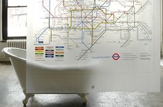 Transit Map Shower Curtain. Plan your route from the bathtub.