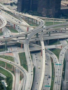 A 12 story, 5 level roadway, with 37 different bridges. Named the High Five Exchange in Dallas Texas.