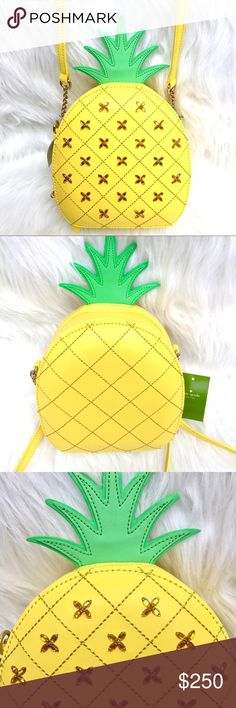 "KATE SPADEPineapple Cute Crossbody Purse CONDITION: NWT = NEW With Tags‼️  DESCRIPTION: % AUTHENTIC  Adorable Kate Spade How Refreshing pineapple crossbody bag with beautiful ✨gem✨ accents.  MEASUREMENTS:      * 11"" WIDTH    * 5"" HEIGHT    * 3"" DEPTH    * 20"" STRAP DROP (Chain)  TAGS: Hawaii aloha tropical pineapples fruit fruits fun cute kawaii sweet yellow gold golden green leather limited edition novelty shoulder clutch wristlet michael kors tory burch coach betsey johnson  PHOTO #4: Gift…"
