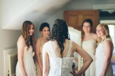 Getting ready | bridesmaid pose | Rustic wedding | mismatched dresses | Rudolph, WI