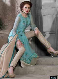 Teal Color Embroidery Work Georgette Churidar Suit