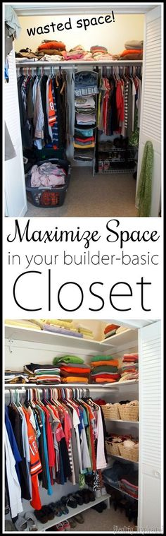 DIY Custom Closet Shelving Tutorial Maximize closet space in your builder basic closet… by adding custom DIY shelves on the sides! Maximize Closet Space, Small Closet Space, Small Spaces, Tiny Closet, Deep Closet, Shared Closet, Diy Clothes Storage, Clothes Shelves, Closet Shelving