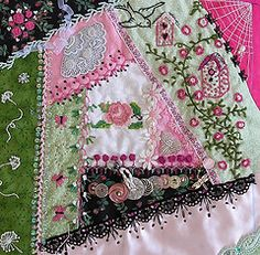 A crazy quilt block using black lace. Link w/ more block work.love to crazy quilt pillows and other small items.