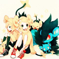 Len, Rin, Shinx & Luxray (Vocaloid & Pokemon) Crossover