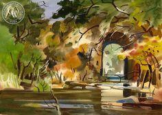 Milford Zornes - Bridge in Colima, 1971 - California art - fine art print for sale, giclee watercolor print - Californiawatercolor.com