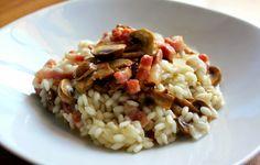 Risoto de cogumelos e bacon