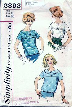 Vintage 60s Simplicity 2893 Blouse & by vintagepatternstore