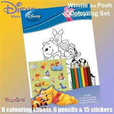 Winnie the Pooh Sticker Colouring Set with Stickers and Pencil Crayons