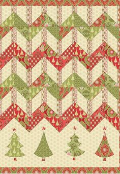 """Deck the Halls pattern, Holiday Bouquet material by Amanda Murphy.  Finished Quilt 48"""" X 69"""". Pattern downloaded already.  Kit and/or material can be ordered through Wish Upon A Quilt in Raleigh, NC."""