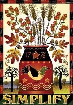 Primitive Autumn, Primitive Folk Art, Primitive Crafts, Zentangle, Collages, Decoupage, Paisley, Cat Art Print, Motif Floral
