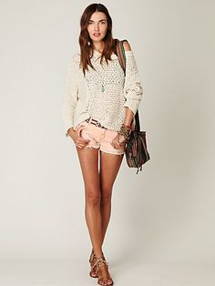 Love this style of sweater and the coral/peach shorts