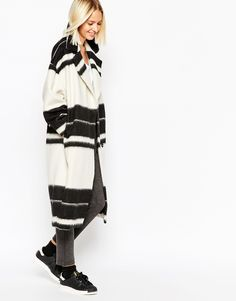 Stripes black and white coat