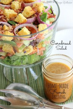 Cornbread Salad with Homemade French Dressing