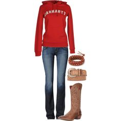 A fashion look from April 2013 featuring Carhartt sweatshirts, Hudson Jeans jeans and Ariat boots. Browse and shop related looks.