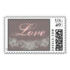 LOVE Gray andPink Vintage Frame Wedding Stamp #wedding #stamps #love #marriage #romance #bride #groom #jaclinart #love #postage #gray #pink #vintage #frame