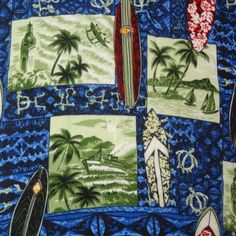 Hawaiian Shirt Size XL Surfboards Turtles Palm Trees Ship Coyote Los Cabos Blue…